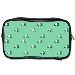Pink Flowers Green Big Toiletries Bags