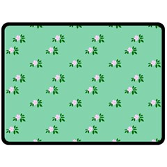 Pink Flowers Green Big Fleece Blanket (large)
