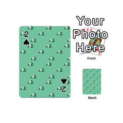 Pink Flowers Green Big Playing Cards 54 (mini)