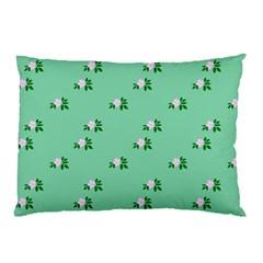 Pink Flowers Green Big Pillow Case (two Sides) by snowwhitegirl