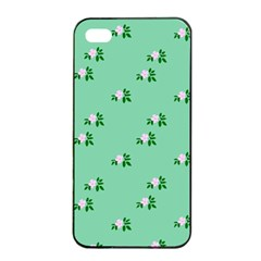 Pink Flowers Green Big Apple Iphone 4/4s Seamless Case (black)