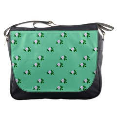 Pink Flowers Green Big Messenger Bags