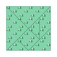 Pink Flowers Green Big Acrylic Tangram Puzzle (6  X 6 )