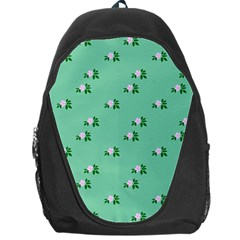 Pink Flowers Green Big Backpack Bag