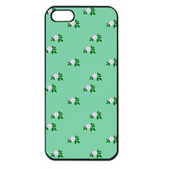 Pink Flowers Green Big Apple Iphone 5 Seamless Case (black)
