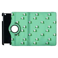 Pink Flowers Green Big Apple Ipad 3/4 Flip 360 Case