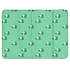Pink Flowers Green Big Samsung Galaxy Tab 7  P1000 Flip Case