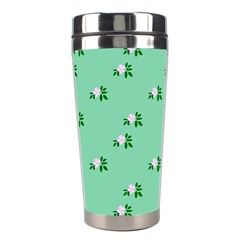 Pink Flowers Green Big Stainless Steel Travel Tumblers