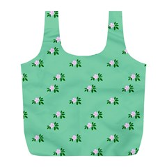 Pink Flowers Green Big Full Print Recycle Bags (l)