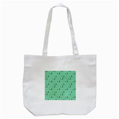Pink Flowers Green Big Tote Bag (white)