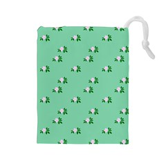 Pink Flowers Green Big Drawstring Pouches (large)