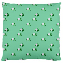 Pink Flowers Green Big Standard Flano Cushion Case (two Sides)