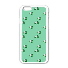 Pink Flowers Green Big Apple Iphone 6/6s White Enamel Case