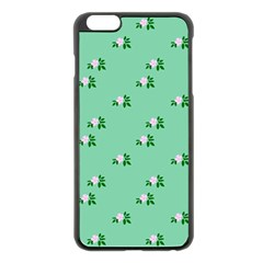 Pink Flowers Green Big Apple Iphone 6 Plus/6s Plus Black Enamel Case