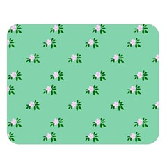 Pink Flowers Green Big Double Sided Flano Blanket (large)