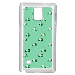 Pink Flowers Green Big Samsung Galaxy Note 4 Case (white)