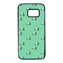 Pink Flowers Green Big Samsung Galaxy S7 Black Seamless Case