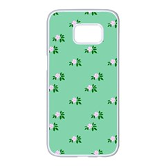 Pink Flowers Green Big Samsung Galaxy S7 Edge White Seamless Case by snowwhitegirl