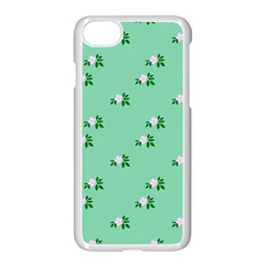 Pink Flowers Green Big Apple Iphone 7 Seamless Case (white)