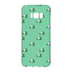 Pink Flowers Green Big Samsung Galaxy S8 Hardshell Case