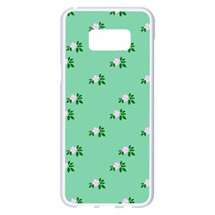 Pink Flowers Green Big Samsung Galaxy S8 Plus White Seamless Case