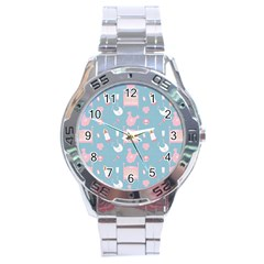 Baby Pattern Stainless Steel Analogue Watch