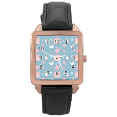 Baby Pattern Rose Gold Leather Watch