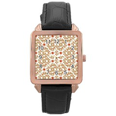 Colorful Modern Pattern Rose Gold Leather Watch  by dflcprints