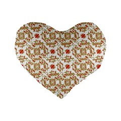 Colorful Modern Pattern Standard 16  Premium Flano Heart Shape Cushions by dflcprints