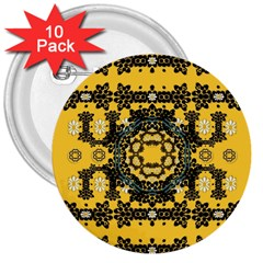 Ornate Circulate Is Festive In A Flower Wreath Decorative 3  Buttons (10 Pack)  by pepitasart