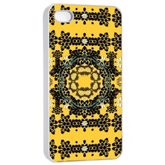 Ornate Circulate Is Festive In A Flower Wreath Decorative Apple Iphone 4/4s Seamless Case (white) by pepitasart