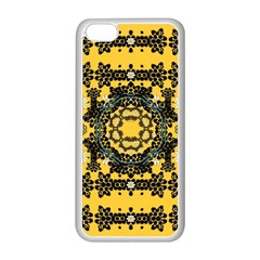 Ornate Circulate Is Festive In A Flower Wreath Decorative Apple Iphone 5c Seamless Case (white) by pepitasart