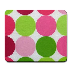 Pink And Green Dots Large Mousepad by youruniqueside