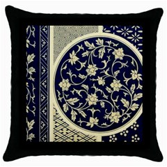 Background Vintage Japanese Throw Pillow Case (black)