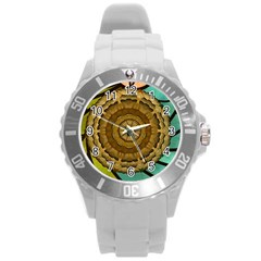 Kaleidoscope Dream Illusion Round Plastic Sport Watch (l)