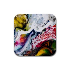 Abstract Art Detail Painting Rubber Square Coaster (4 Pack)  by Nexatart