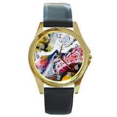 Abstract Art Detail Painting Round Gold Metal Watch