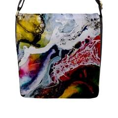 Abstract Art Detail Painting Flap Messenger Bag (l)