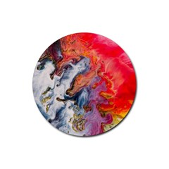 Art Abstract Macro Rubber Round Coaster (4 Pack)