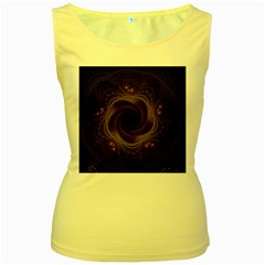 Beads Fractal Abstract Pattern Women s Yellow Tank Top