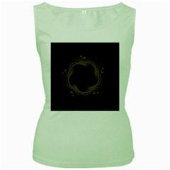 Beads Fractal Abstract Pattern Women s Green Tank Top