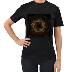 Beads Fractal Abstract Pattern Women s T Shirt (black) (two Sided)