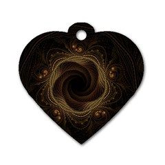Beads Fractal Abstract Pattern Dog Tag Heart (two Sides)