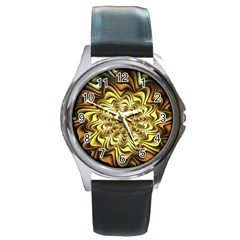 Fractal Flower Petals Gold Round Metal Watch