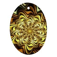 Fractal Flower Petals Gold Ornament (oval)