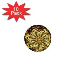 Fractal Flower Petals Gold 1  Mini Buttons (10 Pack)