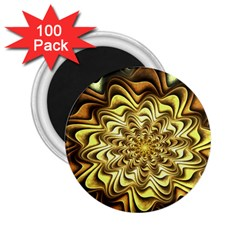 Fractal Flower Petals Gold 2 25  Magnets (100 Pack)