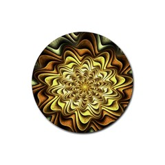 Fractal Flower Petals Gold Rubber Round Coaster (4 Pack)