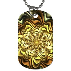 Fractal Flower Petals Gold Dog Tag (one Side)
