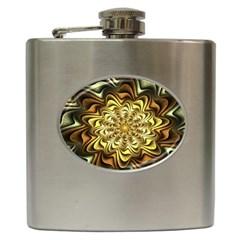Fractal Flower Petals Gold Hip Flask (6 Oz) by Nexatart